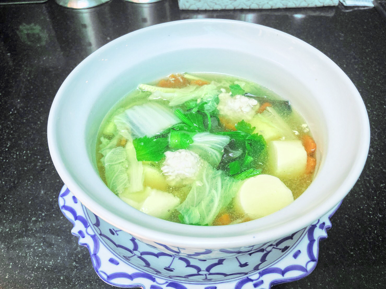 Clear Soup with Bean Curd and Minced Chicken