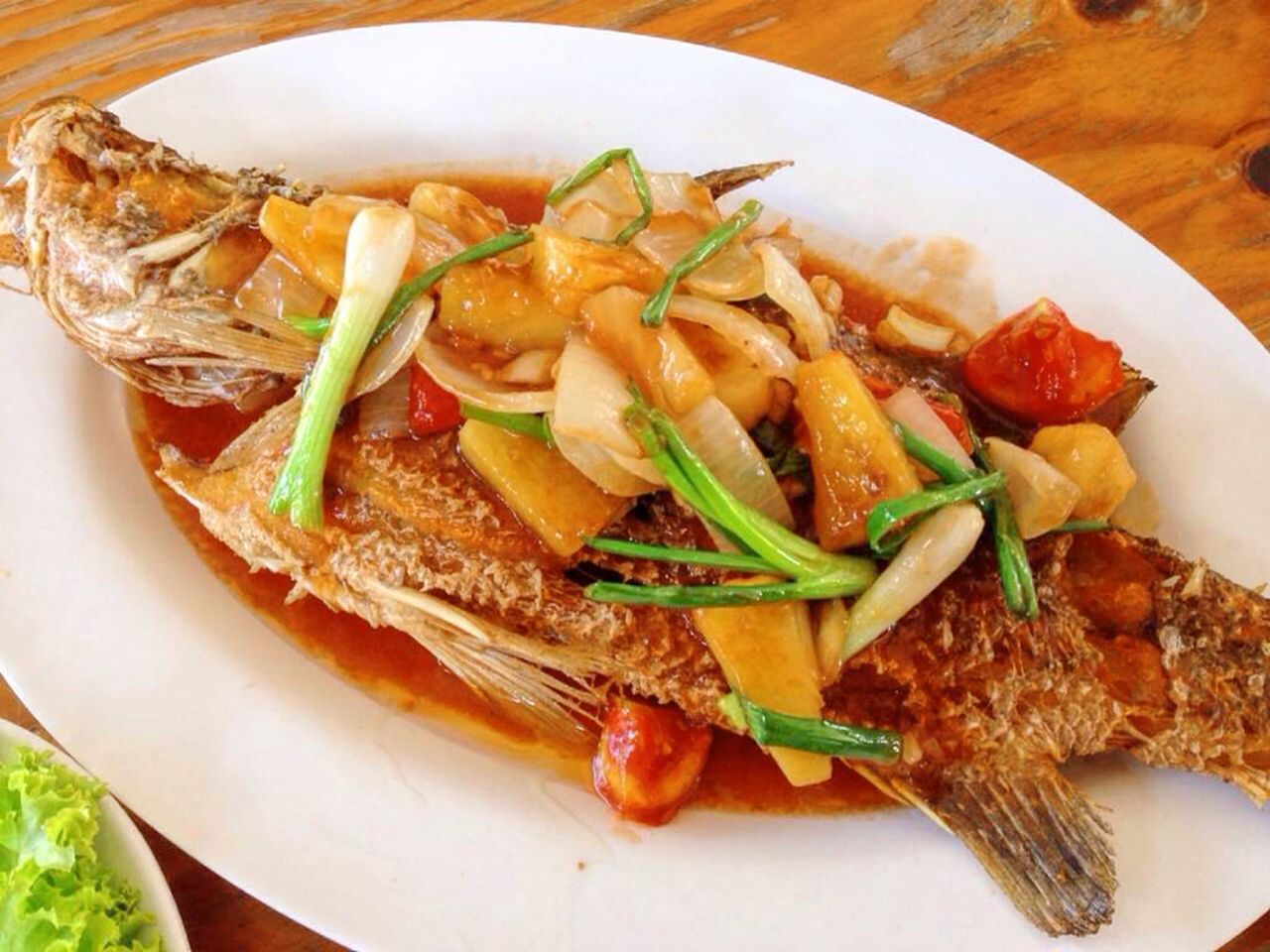 "Deep-Fried fish ""white sea bass"" with sweet and sour sauce"